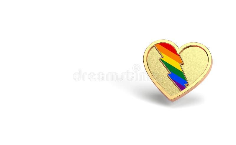 Золотое сердце с молнией радуги внутрь Любовь и бой LGBT для их концепции символа прав Изолированный на белой предпосылке с иллюстрация штока