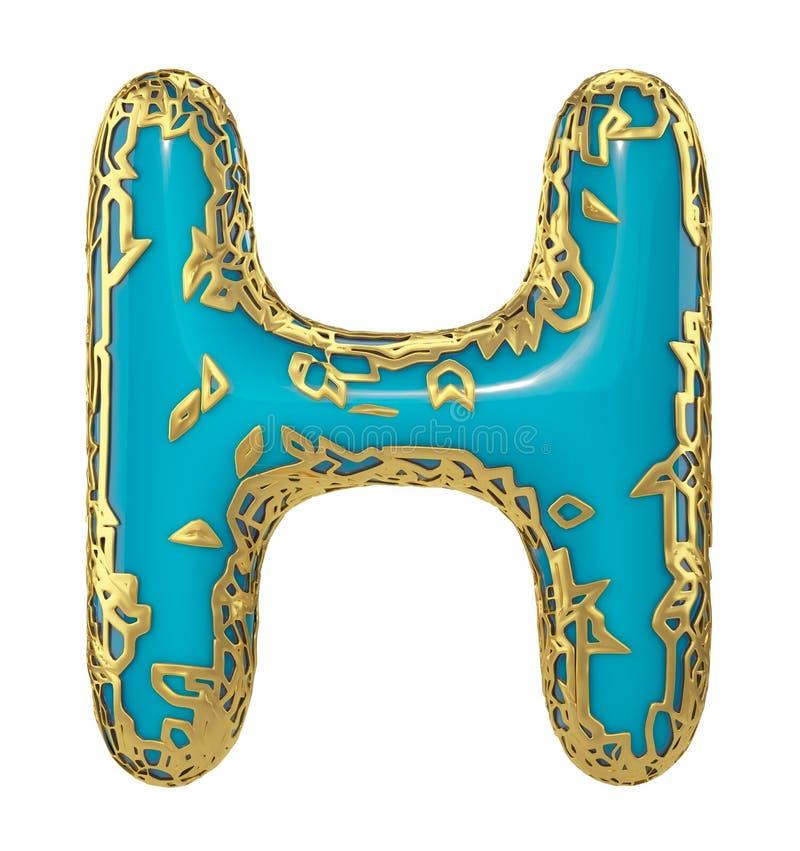 Золотое сияющее металлическое 3D с голубой прописной буквой h символа краски - uppercase изолированным на белизне 3d иллюстрация вектора
