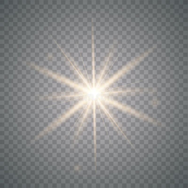 Золотое сияющее солнце вектора иллюстрация вектора