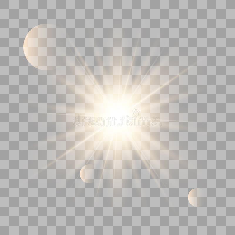 Золотое сияющее солнце вектора иллюстрация штока