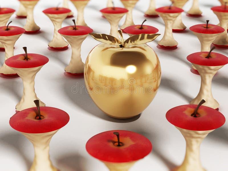 Золотое яблоко стоя вне среди съеденных ядров яблока иллюстрация 3d иллюстрация штока