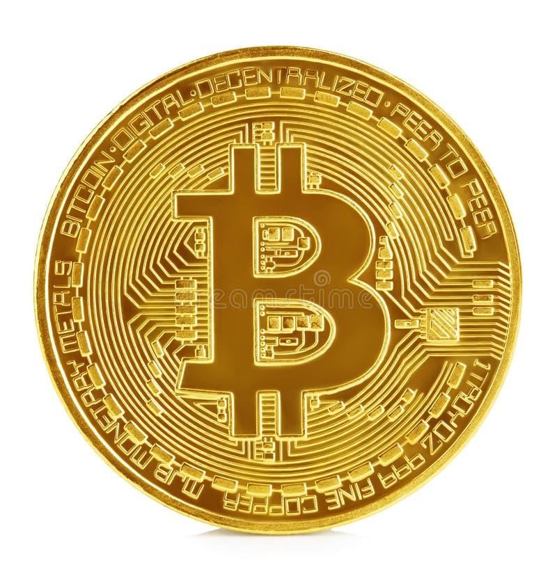 Золотое bitcoin изолированное на белой предпосылке Новые виртуальные деньги стоковая фотография rf