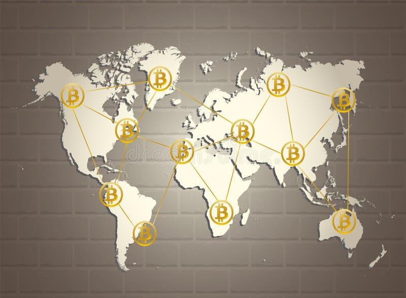 Золотое bitcoin подписывает на карте мира на коричневой серой предпосылке кирпичной стены Система платежей cryptocurrency Bitcoin иллюстрация вектора