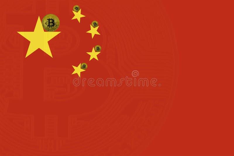 Золотое bitcoin стоит на предпосылке национального флага Китая стоковая фотография