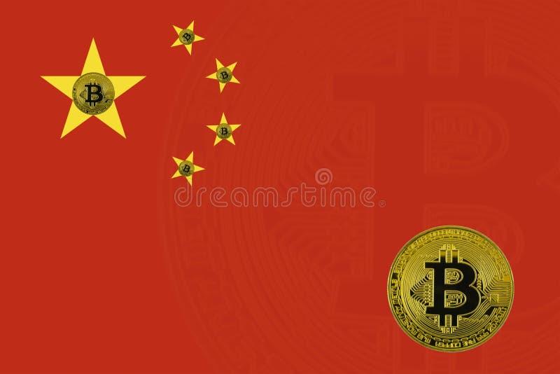 Золотое bitcoin стоит на предпосылке национального флага Китая стоковое фото rf