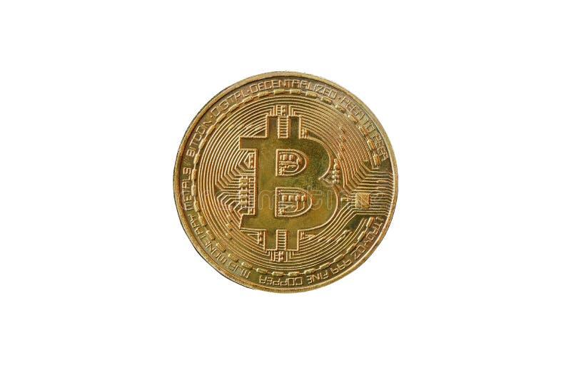 Золотое bitcoin с символом bitcoin стоковые фотографии rf