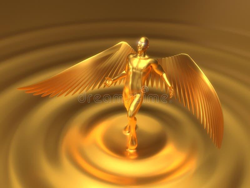 Золотой ангеликовый характер поднимая от жидкостного золота иллюстрация 3d иллюстрация штока