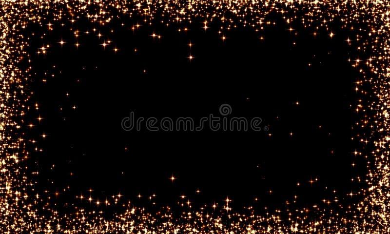 золотой блестит на черном фоне, праздник, золото, звездная шина, звездная рама, рождество, праздник стоковая фотография
