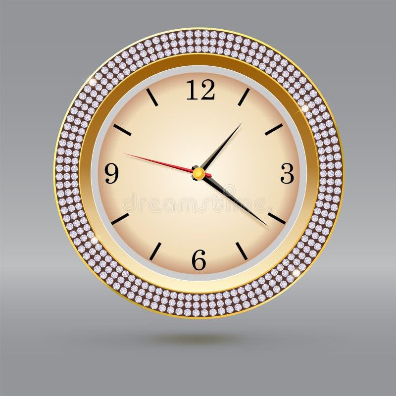 Золотой вахта с диамантами на серой предпосылке Значок роскошных часов, украшение ювелирных изделий с белой шкалой и стрелки иллюстрация вектора