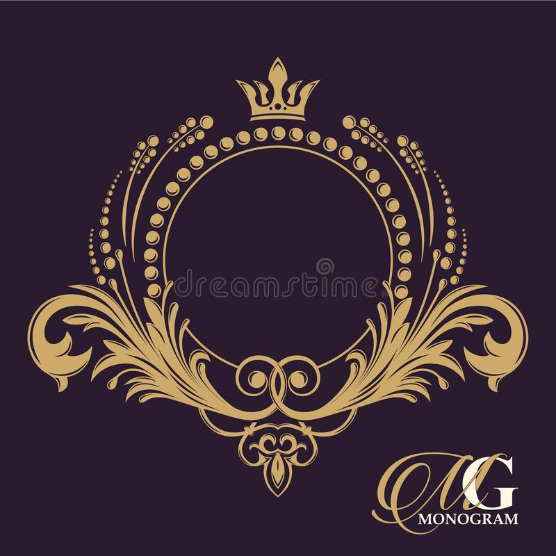 Золотой вензель вектора Расцветает каллиграфические элегантные винтажные элементы в прошлом иллюстрация вектора
