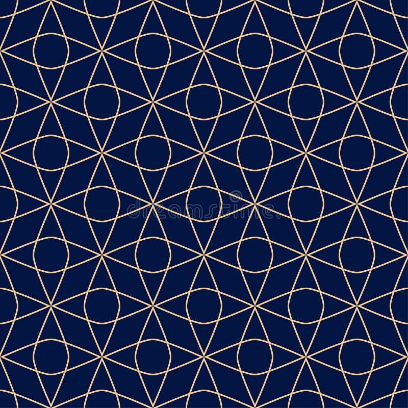 Золотой голубой геометрический орнамент картина безшовная иллюстрация вектора