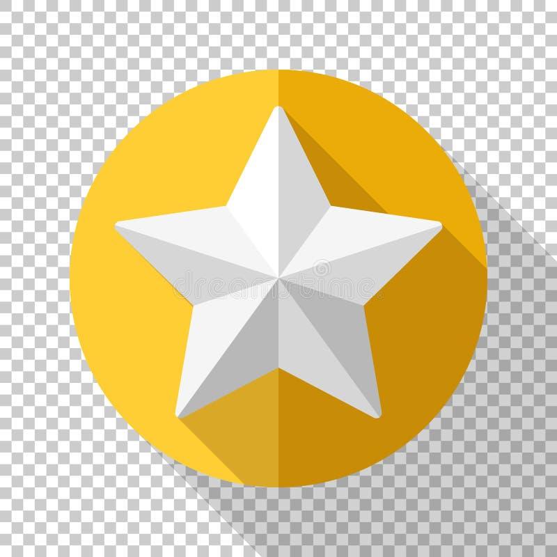 Золотой значок звезды в плоском стиле на прозрачной предпосылке иллюстрация штока