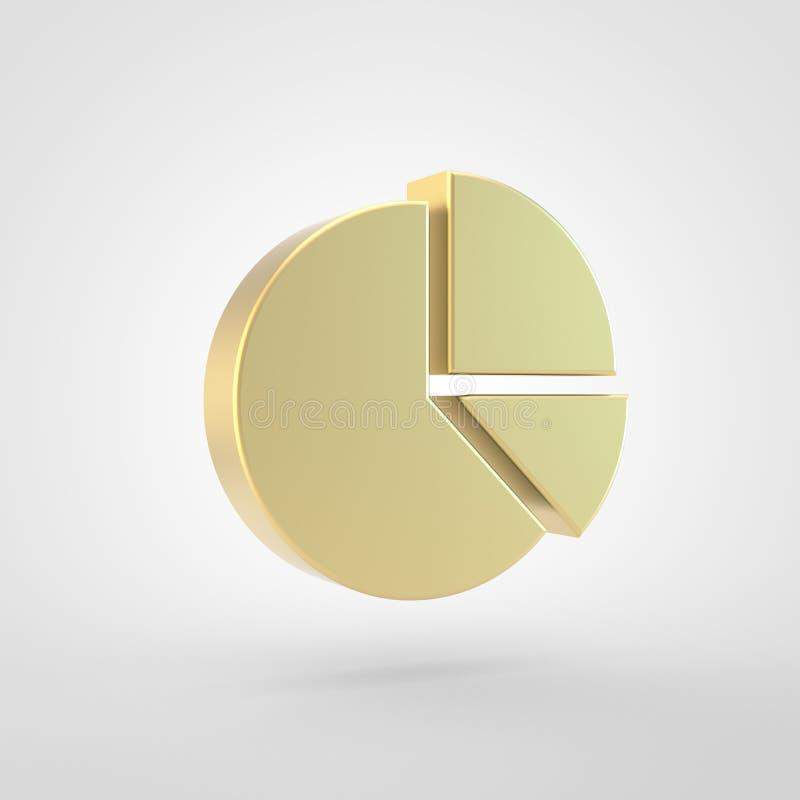 Золотой значок пирога диаграммы изолированный на белой предпосылке иллюстрация штока