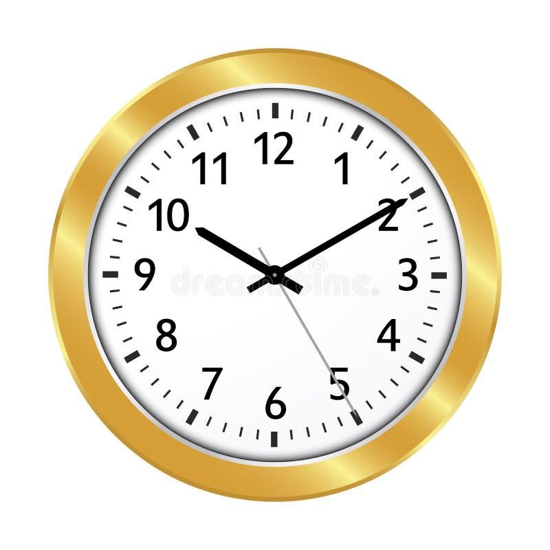Золотой значок часов с классические 10 за регулировкой 10 бесплатная иллюстрация
