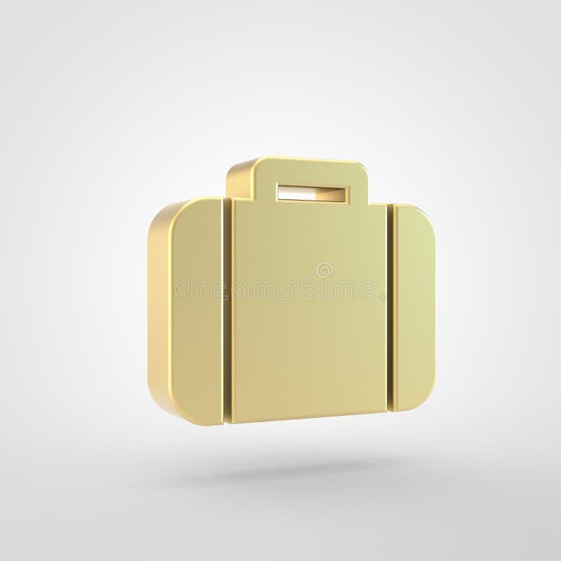 Золотой значок чемодана изолированный на белой предпосылке бесплатная иллюстрация