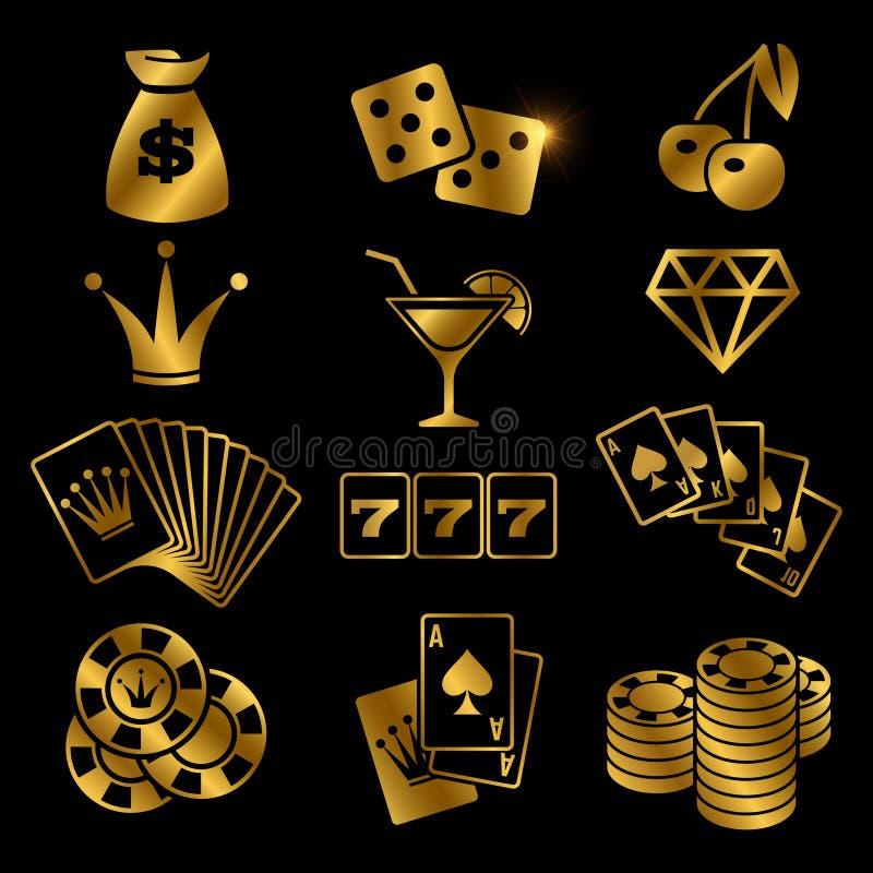 Золотой играть в азартные игры, карточная игра покера, казино, значки вектора везения изолированные на черной предпосылке иллюстрация штока