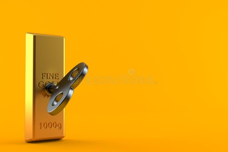 Золотой ингот с ключом clockwork иллюстрация вектора