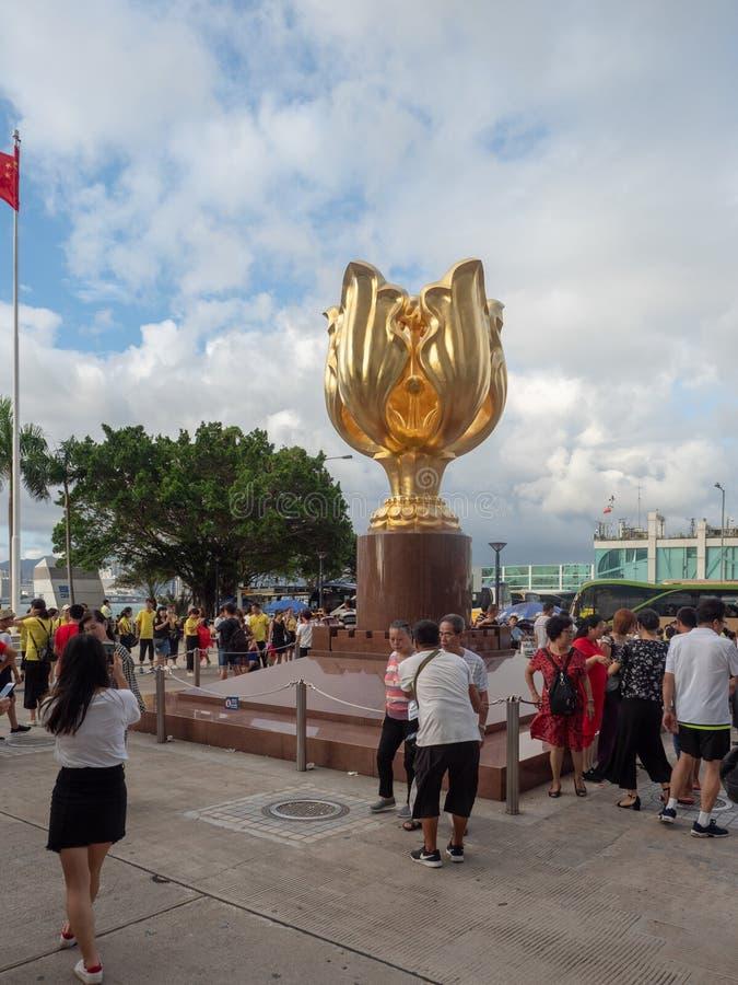 Золотой квадрат Bauhinia, Гонконг стоковое изображение