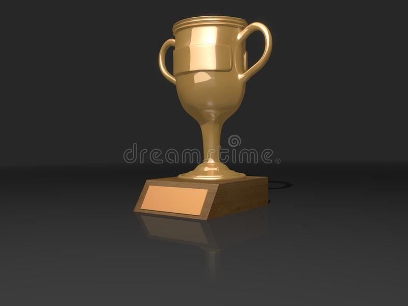 Золотой керамический приз трофея /metal с пустой именной табличкой перевод 3d иллюстрация штока