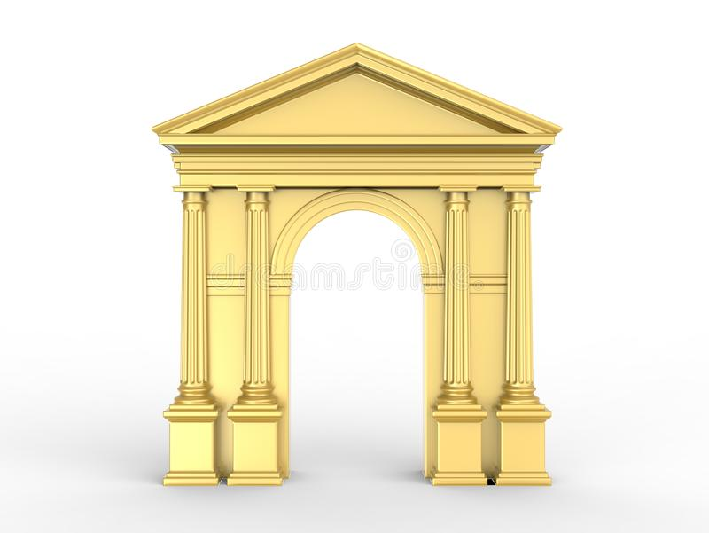 Золотой классический свод, аркада с коринфскими столбцами, Doric пилястрами изолированными на белизне иллюстрация штока