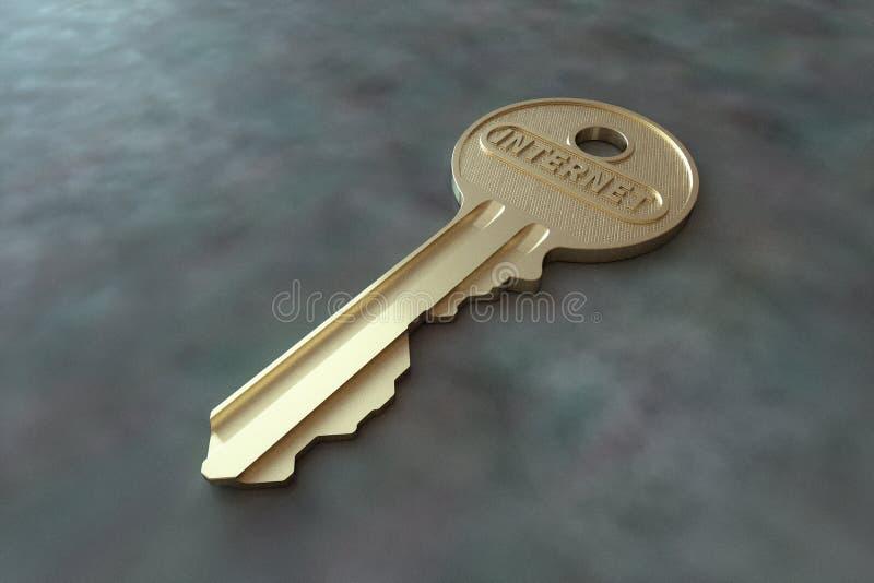 Золотой ключ с интернетом слова на конкретной поверхности стоковое фото