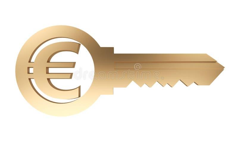 Золотой ключ с символом валюты евро бесплатная иллюстрация