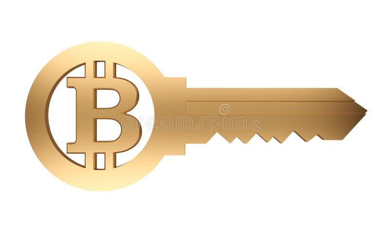 Золотой ключ с символом bitcoin иллюстрация штока