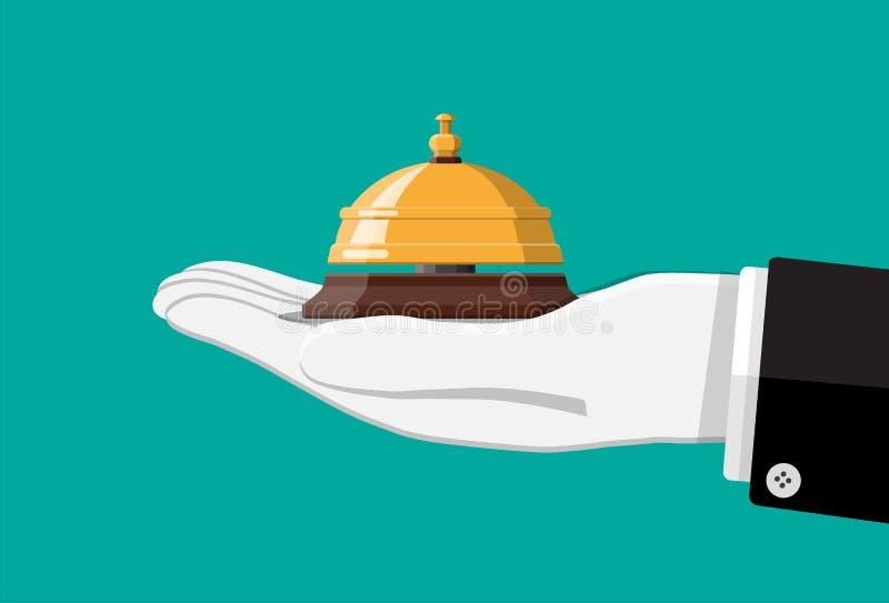 Золотой колокол обслуживания в руке иллюстрация штока
