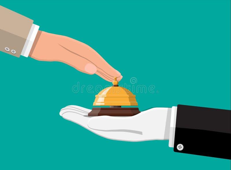 Золотой колокол обслуживания в руке иллюстрация вектора
