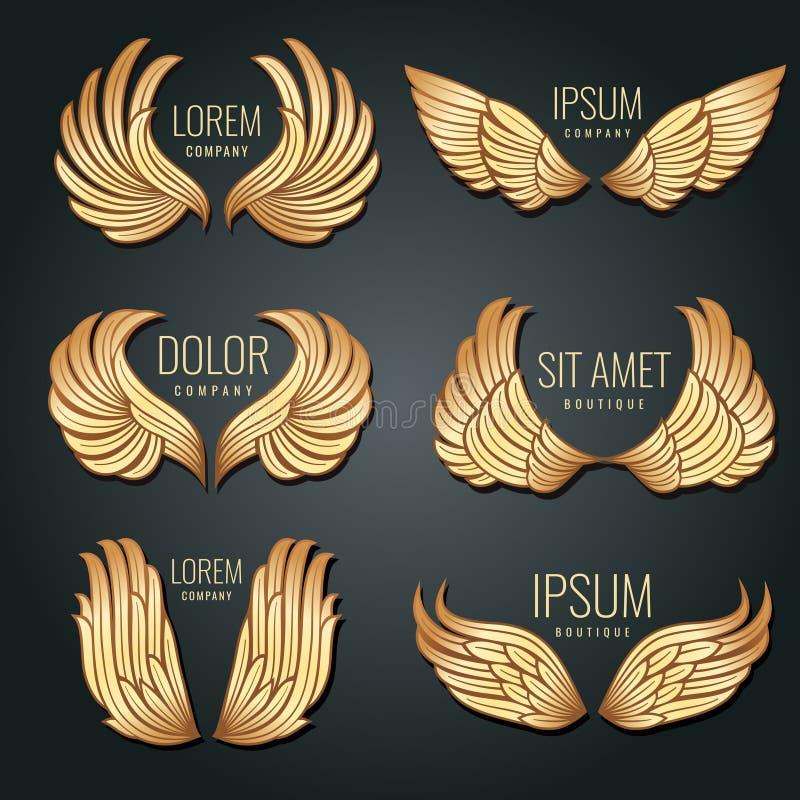 Золотой комплект вектора логотипа крыла Ангелы и ярлыки золота элиты птицы для фирменного стиля конструируют иллюстрация штока