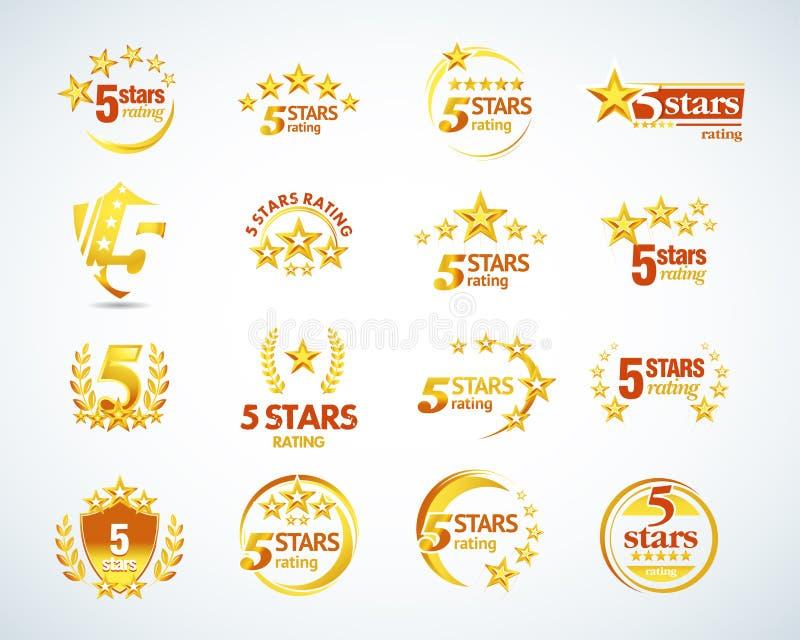 Золотой комплект шаблона логотипа 5 звезд пятизвездочные установленные эмблемы оценки Изолированная иллюстрация вектора иллюстрация вектора