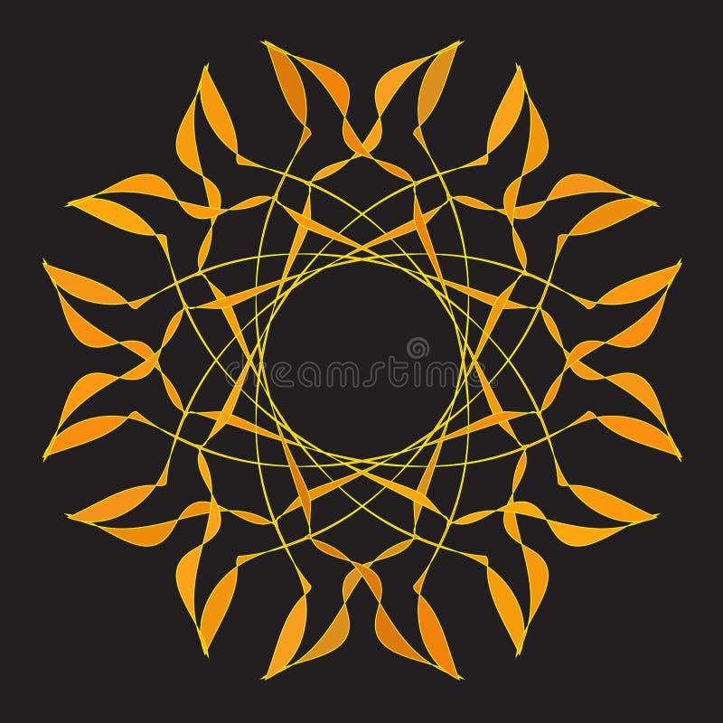 Золотой круговой орнамент для ювелирных изделий иллюстрация вектора