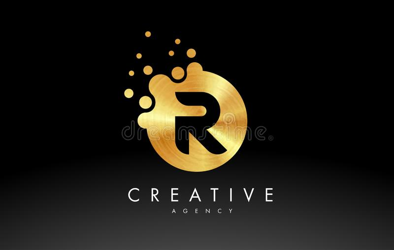 Золотой логотип письма r металла Вектор дизайна письма r иллюстрация вектора