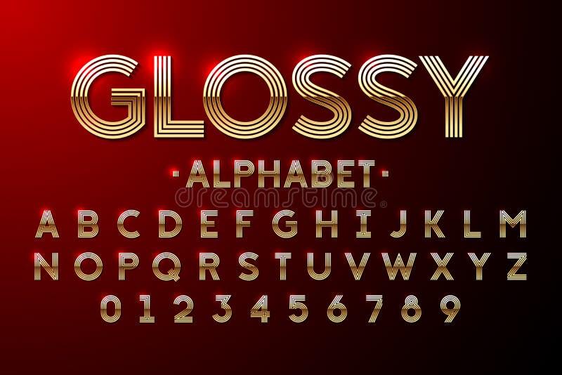 Золотой лоснистый шрифт иллюстрация штока