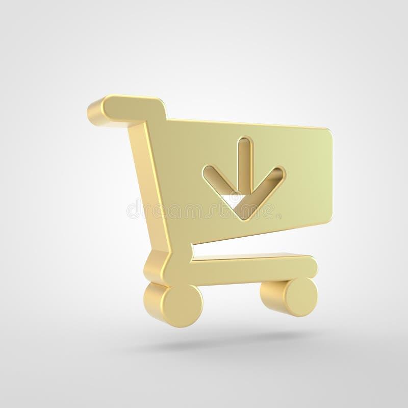 Золотой магазинной тележкаи стрелки значок вниз изолированный на белой предпосылке иллюстрация штока