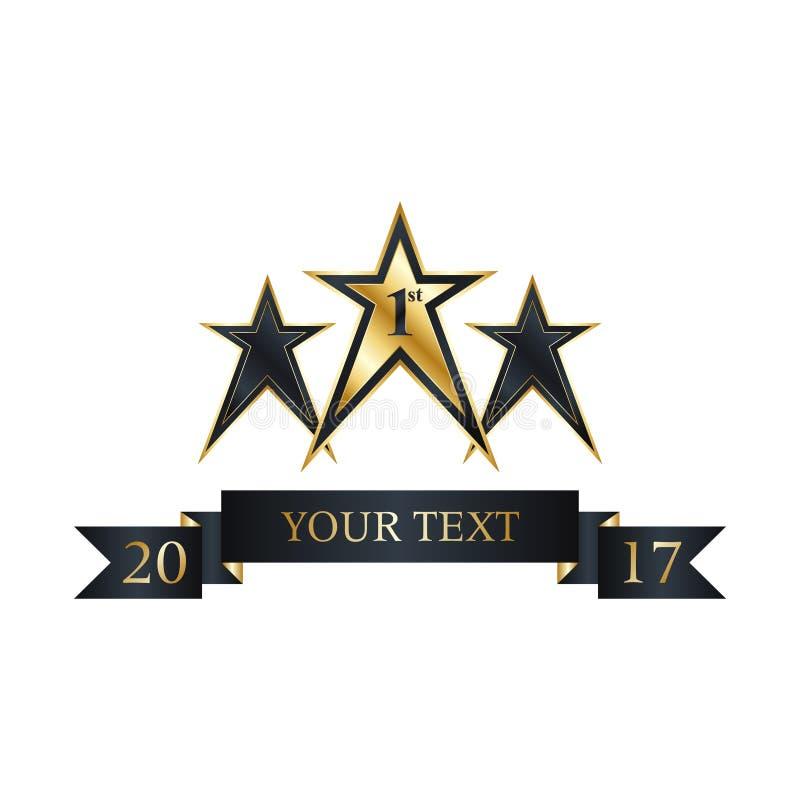 Золотой первый ярлык звезды победителя стоковое изображение