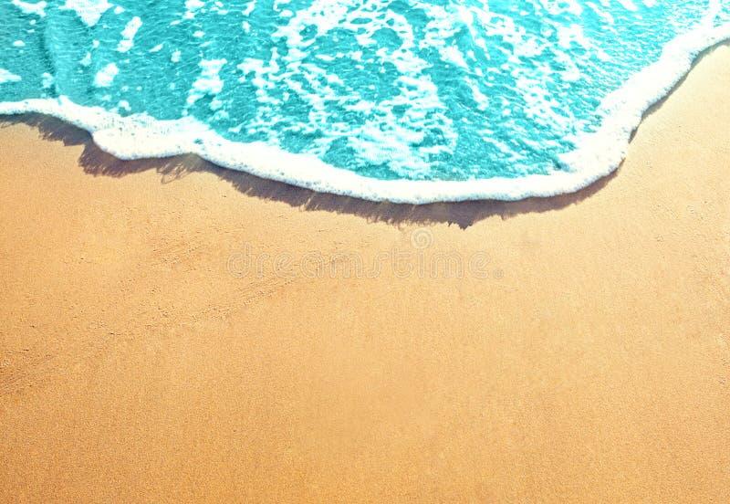 Золотой песчаный пляж с прибоем моря Самая лучшая предпосылка пляжей океана стоковые изображения