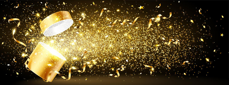 Золотой подарок с confetti иллюстрация штока