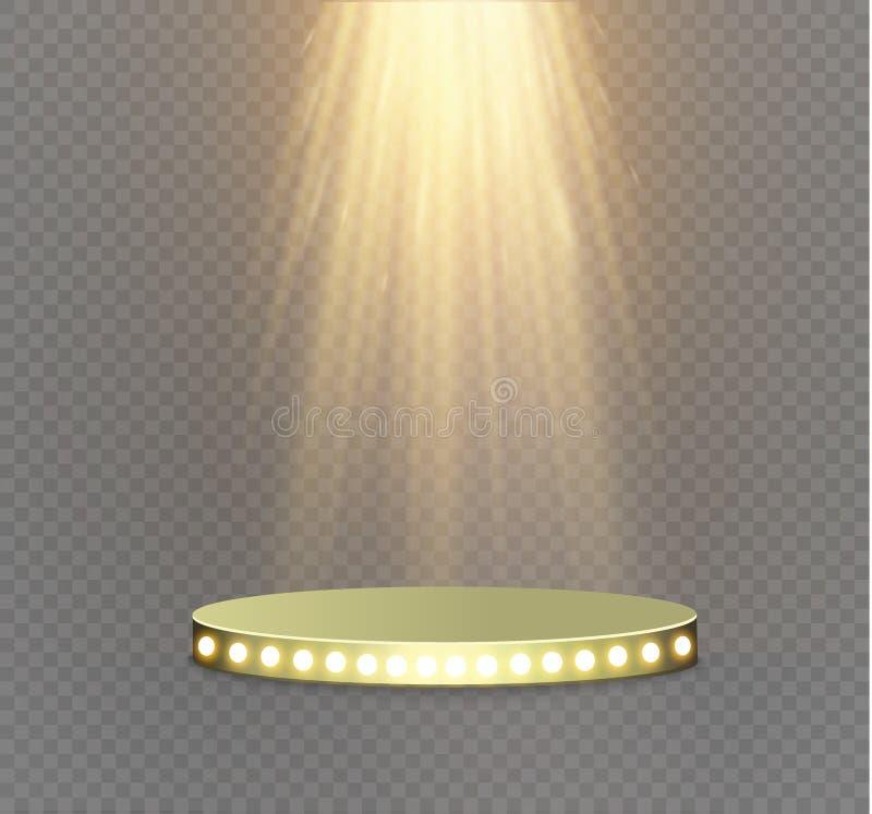 Золотой подиум на прозрачной предпосылке подиум победителей с яркими светами фара освещение вектор иллюстрация штока