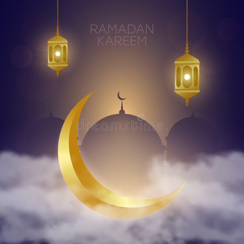 Золотой полумесяц в облаках, фонарике Fanus и мечети Мусульманское пиршество святого месяца Рамазан Kareem r иллюстрация штока