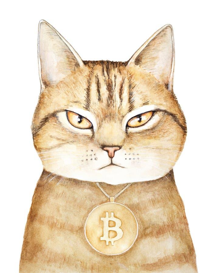 Золотой портрет кота tabby с хмурым выражением стороны, нося медальоном золота с гравировкой знака bitcoin иллюстрация штока