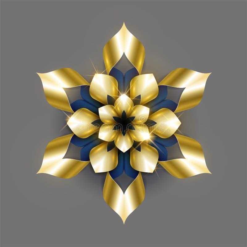 Золотой роскошный вектор предпосылки Дизайн цветочного узора снежинки золота Флористический орнамент мандалы иллюстрация вектора