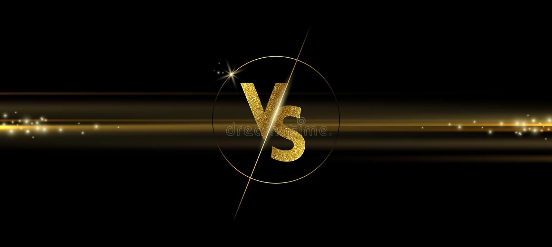 Золотой светить против логотипа на черной предпосылке ПРОТИВ логотипа для игр, сражения, спички, спорт или конкуренции боя, иллюстрация вектора