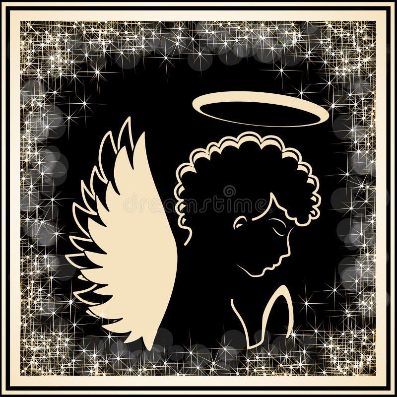 Золотой силуэт ангела в золотой рамке с ярким блеском звезд Вероисповедный символ иллюстрация вектора