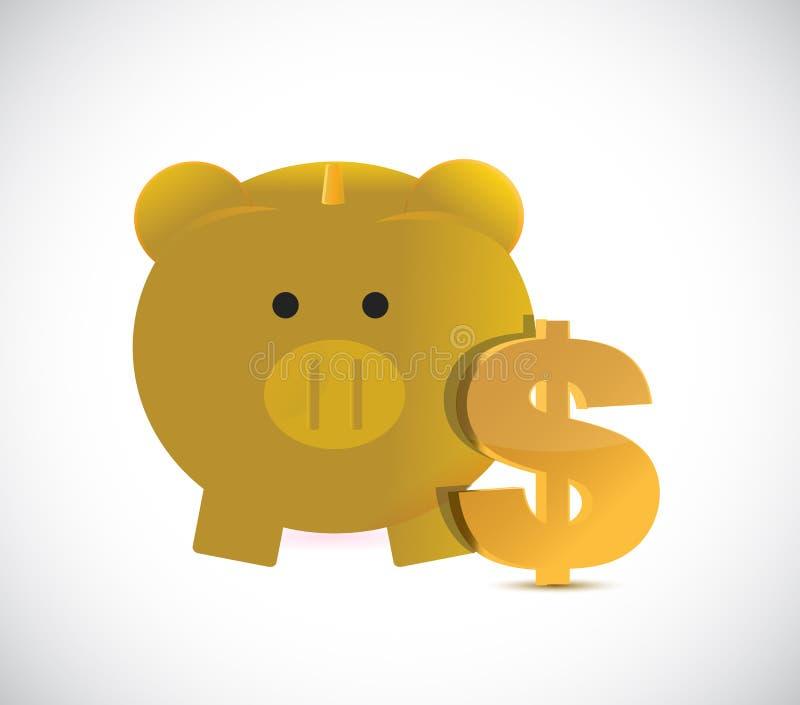 золотой символ валюты копилки и доллара иллюстрация штока