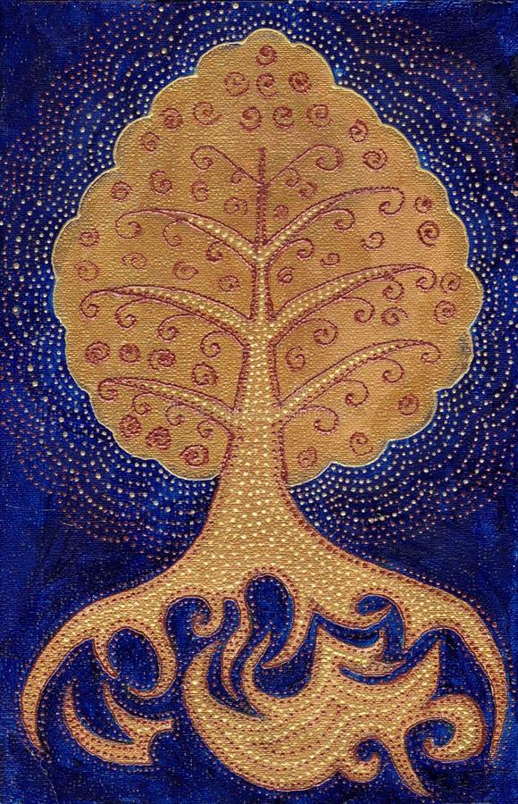 Золотой символ дерева Bodhi на синей предпосылке Абстрактная роскошная иллюстрация стиля иллюстрация вектора