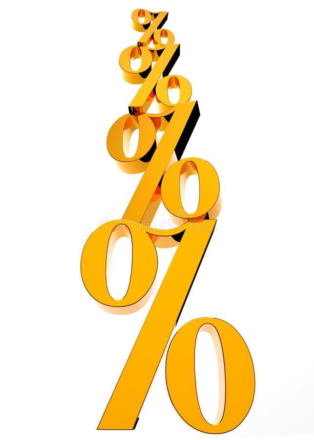 Золотой символ процента стоковая фотография
