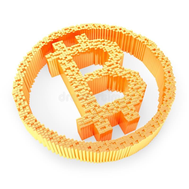 Золотой символ bitcoin на белой предпосылке, концепции cryptocurrency r иллюстрация вектора