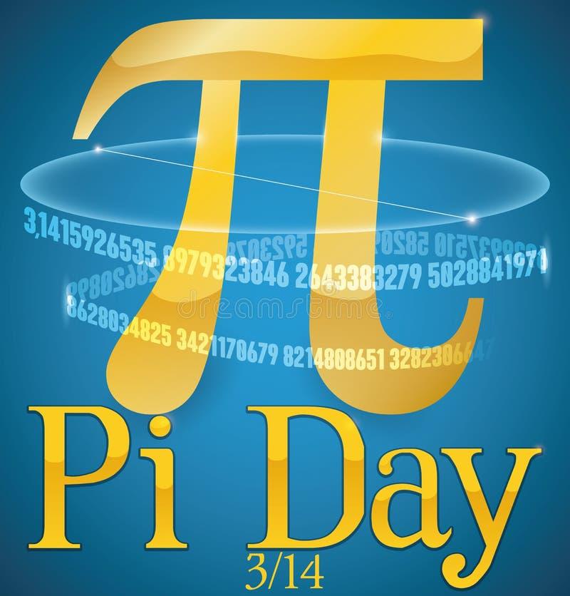 Золотой символ Pi со своей численной серией на день Pi, иллюстрация вектора иллюстрация штока