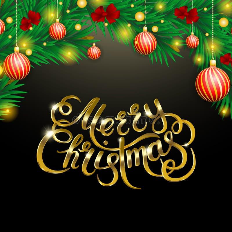 Золотой текст на черной предпосылке С Рождеством Христовым и счастливая литерность Новый Год бесплатная иллюстрация